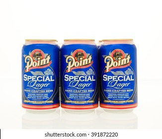 Winneconne, WI - 15 March 2016:  A six pack of Point beer in cans.