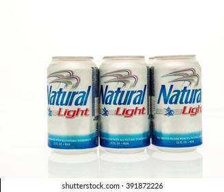 Winneconne, WI - 15 March 2016:  A six pack of Natural Light beer in cans.