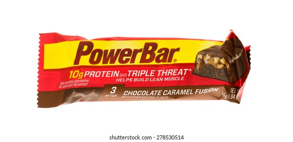 Winneconne, WI - 15 May 2015: Powerbar energy bar in chocolate caramel fusion flavor.