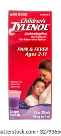 Winneconne, WI -15 Oct 2015:  Box of Children Tylenol fever and pain reliever.