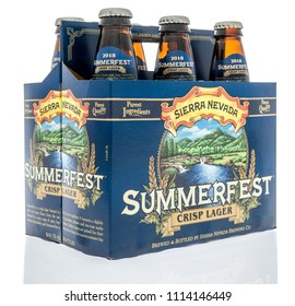 Winneconne, WI - 16 June 2018: A six pack of Sierra Nevada summerfest crisp lager beer on an isolated background.