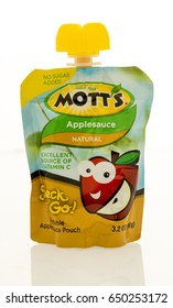 Winneconne, WI - 16 May 2017: A pouch of Motts applesauce on an isolated background.