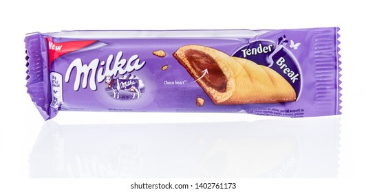 Winneconne, WI - 16 May 2019 : A package of Milka cookie bar tender break on an isolated background