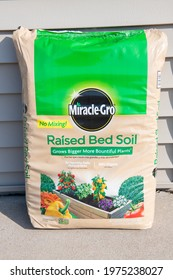 Winneconne, WI - 16 May 2021:  A package of Miracle gro Raised bed soil on an isolated background