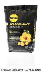 Winneconne, WI - 16 May 2021:  A package of Miracle gro performance organics all purpose container mix on an isolated background