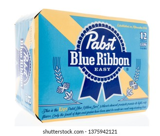 Winneconne, WI -  17 April 2019: A package of Pabst blue ribbon easy beer in a 12 pack on an isolated background