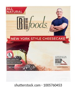 Winneconne, WI - 17 January 2018: A package of  Robert Irvine New York style cheesecake on an isolated background.