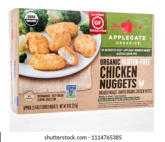 Winneconne, WI - 17 June 2018: A box of Applegate organics chicken nuggets on an isolated background.