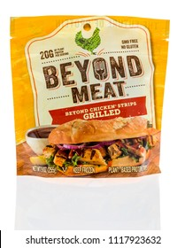 Winneconne, WI - 17 June 2018: A package of Beyond Meat beyond chicken grilled strips with plant based protein on an isolated background.