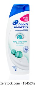 Winneconne, WI - 17 March 2019: A bottle of Head and Shoulders advanced 2 in 1 itchy scalp care shampoo and conditioner on an isolated background