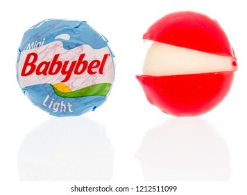 Winneconne, WI - 17 October 2018:  A package of mini Babybel light cheese on an isolated background.