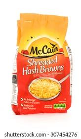 Winneconne, WI - 18 August 2015:  Bag of McCain shredded hash browns.