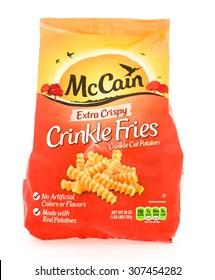 Winneconne, WI - 18 August 2015:  Bag of McCain extra crispy crinkle fries.