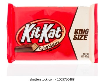 Winneconne, WI - 18 January 2018: A package of a King Size Kit Kat on an isolated background.