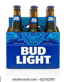 Winneconne, WI - 18 May 2016:  Six pack of Bud Light with new design on an isolated background