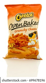 Winneconne, WI - 19 August 2017:  A bag of Cheetos oven baked crunchy cheese flavor on an isolated background