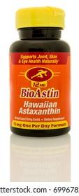 Winneconne, WI - 19 August 2017:  A bottle of BiaAstin Hawaiian astaxanthin on an isolated background
