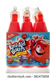 Winneconne, WI - 19 Feb 2016: Bottles of Kool-Aid bursts in tropical punch flavor.