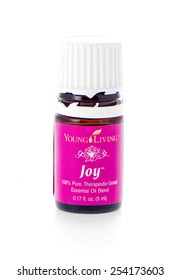 Winneconne, WI - 19 February 2015:  Bottle of Young Living Joy essential oil supplement.