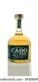 Winneconne, WI - 19 March 2016:  A bottle of Cabo wabo tequila