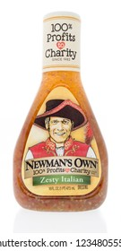 Winneconne, WI - 19 November 2018: A bottle of Newman's Won Zesty Italian salad dressing on an isolated background.