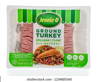 Winneconne, WI - 19 November 2018: A package of Jennie-O ground turkey on an isolated background.
