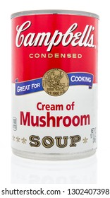 Winneconne, WI - 2 Feb 2019: A can of Campbells soup in cream of mushroom on an isolated background
