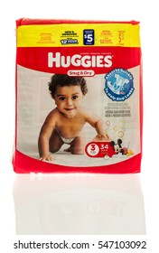 Winneconne, WI - 2 January 2017:  Package of Huggies diapers on an isolated background.
