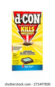 Winneconne, WI - 20 April 2015:  Box of d-con rat and mouse poison containing four bait trays.
