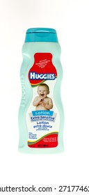 Winneconne, WI - 20 April 2015:  Bottle of Huggies lotion made for babies.