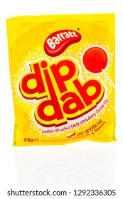 Winneconne, WI - 20 January 2019: A package of Barratt dib dab candy from United Kingdom on an isolated background.