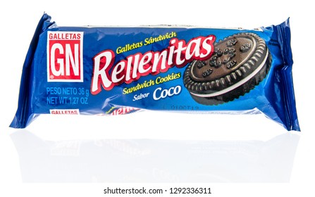 Winneconne, WI - 20 January 2019: A package of Galletas rellenitas cookies from Peru on an isolated background.