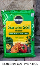 Winneconne, WI - 20 June 2018: A package of Miracle Gro garden soil all purpose