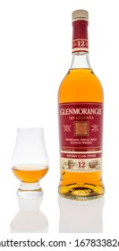 Winneconne,  WI - 20 March 2020:  A bottle of Glenmorangie Scotch whisky with  glencairn glass on an isolated background.