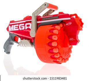 Winneconne, WI - 20 September 2019: A Nerf Megalodon N-strike mega dart gun on an isolated background.