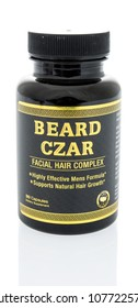 Winneconne, WI -  21 April 2018: A bottle of Beard Czar facial hair complex supplement on an isolated background.