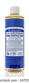 Winneconne, WI - 21 July 2019 : A bottle of Dr Bronners pure-castile soap in peppermint  on an isolated background