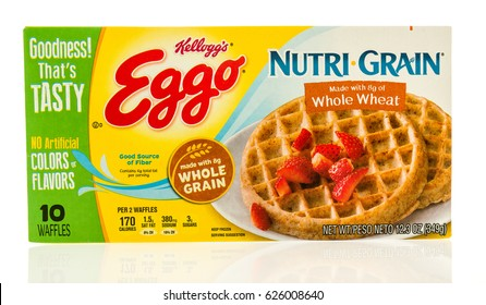 Winneconne, WI - 22 April 2017: Box of Eggo waffles in Nutri Grain whole wheat flavor on an isolated background.