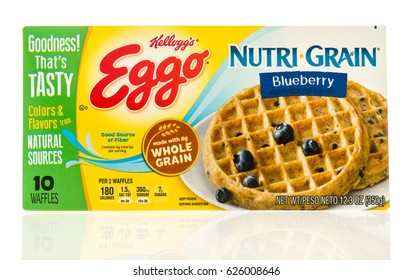 Winneconne, WI - 22 April 2017: Box of Eggo waffles in Nutri Grain blueberry flavor on an isolated background.