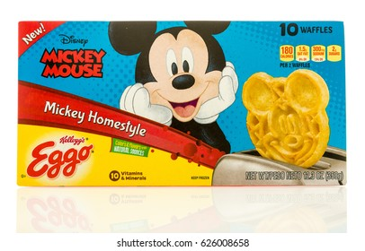 Winneconne, WI - 22 April 2017: Box of Eggo waffles in Mikey homestyle flavor featuring Mickey Mouse on an isolated background.