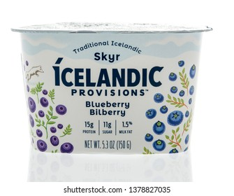 Winneconne, WI -  22 April 2019: A package of Traditional Icelandic Skyr Icelandic provisions yogurt on an isolated background