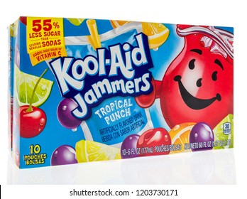 Winneconne, WI - 23 September 2018: A package of Kool-Aid Jammers in tropical punch flavor on an isolated background