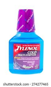Winneconne, WI - 25 April 2015: Bottle of Tylenol cold multi-symptom formula.
