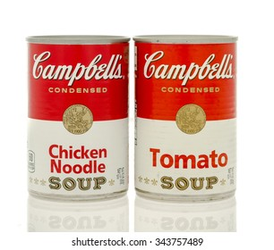 Winneconne, WI- 25 Nov 2015:  Cans of Chicken noodle and tomato soup made by Campbell's; the two most popular flavors.