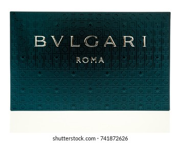 Winneconne, WI - 25 October 2017:  A box of Bvlgari luxury items on an isolated background.