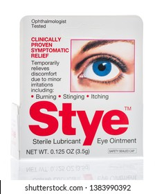 Winneconne, WI -  26 April 2019: A package of Stye sterile lubricant eye ointment on an isolated background