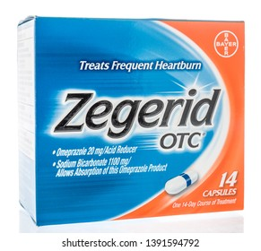 Winneconne, WI -  26 April 2019: A package of Zegerid OTC medicine for heartburn on an isolated background