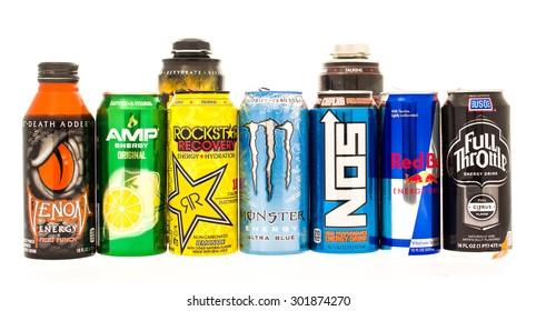 Winneconne, WI - 27 July 2015:  Some of the biggest energy drinks on the consumer market. Red Bull, Monster, Amp, Rockstar, Full Throttle, NOS and Venom