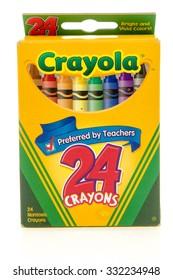 Winneconne, WI -27 Oct 2015: Box of Crayola crayons.