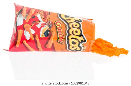 Winneconne, WI -  28 April 2018: A bag of Cheetos crunchy on an isolated background.
